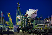The Soyuz TMA15M spacecraft is rolled out to the launch pad by train at the Baikonur Cosmodrome on November 21 2014 in Baikonur azakhstan The Launch...