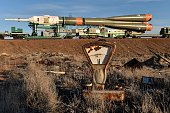 The Soyuz TMA16M spacecraft is transported to a launch pad at the Russianleased Baikonur cosmodrome in Kazakhstan on March 25 2015 Russia's Soyuz...