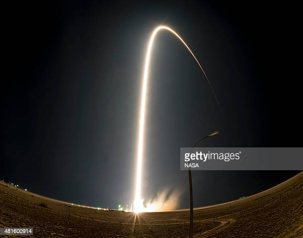 The Soyuz TMA17M rocket as seen in this long exposure launches from the Baikonur Cosmodrome on July 23 2015 in Baikonur Kazakhstan The Soyuz rocket...