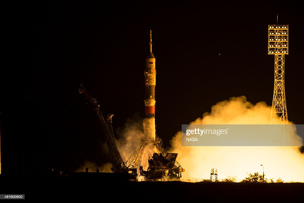 The Soyuz TMA17M rocket launches from the Baikonur Cosmodrome on July 23 2015 in Baikonur Kazakhstan The Soyuz rocket carries Expedition 44 Soyuz...