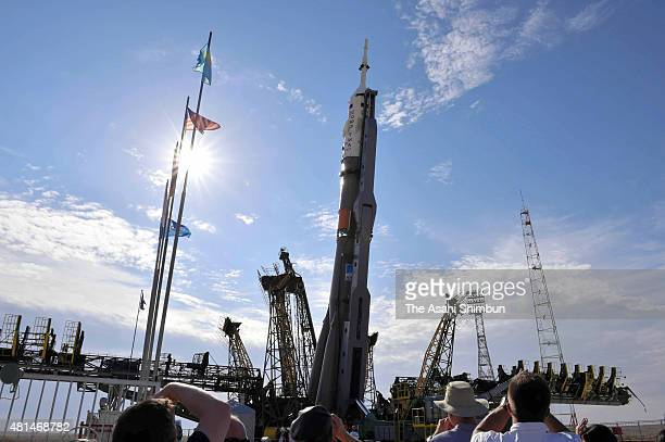 The Soyuz TMA17M spacecraft is raised into position on the launch pad at the Baikonur Cosmodrome on July 20 2015 in baikonur Kazakhstan Launch of the...