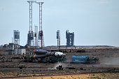 The Soyuz TMA18M spacecraft is transported to a launch pad at the Russianleased Baikonur cosmodrome in Kazakhstan early on August 31 2015 Russia's...