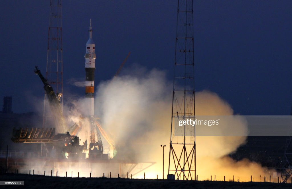 The Soyuz-FG rocket booster with Soyuz TMA-07M space ship of the next expedition to the International Space Station blasts off from the Russian leased Kazakhstan's Baikonur cosmodrome on December 19, 2012. A Soyuz spacecraft carrying Canadian astronaut Chris Hadfield, US astronaut Tom Marshburn and Russian cosmonaut Roman Romanenko blasted off today from the Baikonur cosmodrome in Kazakhstan bound for the International Space Station (ISS), an AFP correspondent reported.