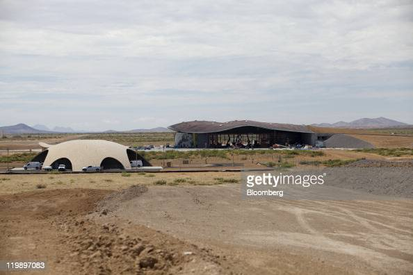 The Space Operations Center left and Terminal Hangar Facility stand at Spaceport America in Sierra County New Mexico US on Thursday July 14 2011 The...