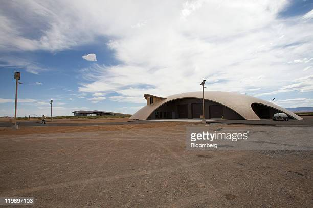 The Space Operations Center right and Terminal Hangar Facility background stand at Spaceport America in Sierra County New Mexico US on Thursday July...