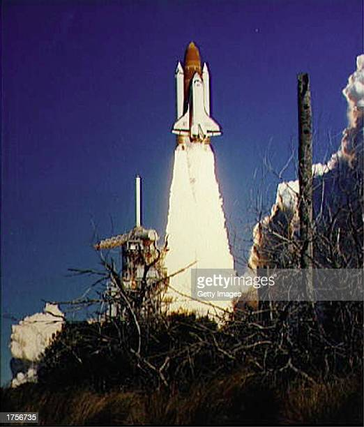 The Space Shuttle Challenger lifts off January 28 1986 from Kennedy Space Center Florida The Challenger and its seven member crew were lost seventy...