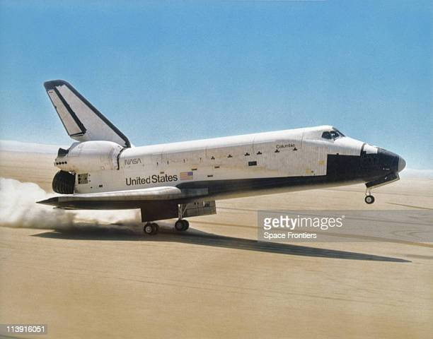 The Space Shuttle Columbia landing after a mission USA circa 1990