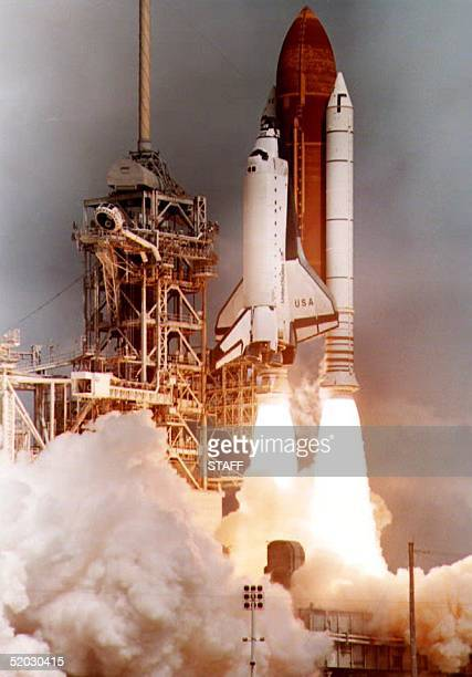 The Space Shuttle Columbia lifts off Kennedy Space Center in Florida 26 April 1993 carrying a crew of seven and the German Spacelab Columbia is...