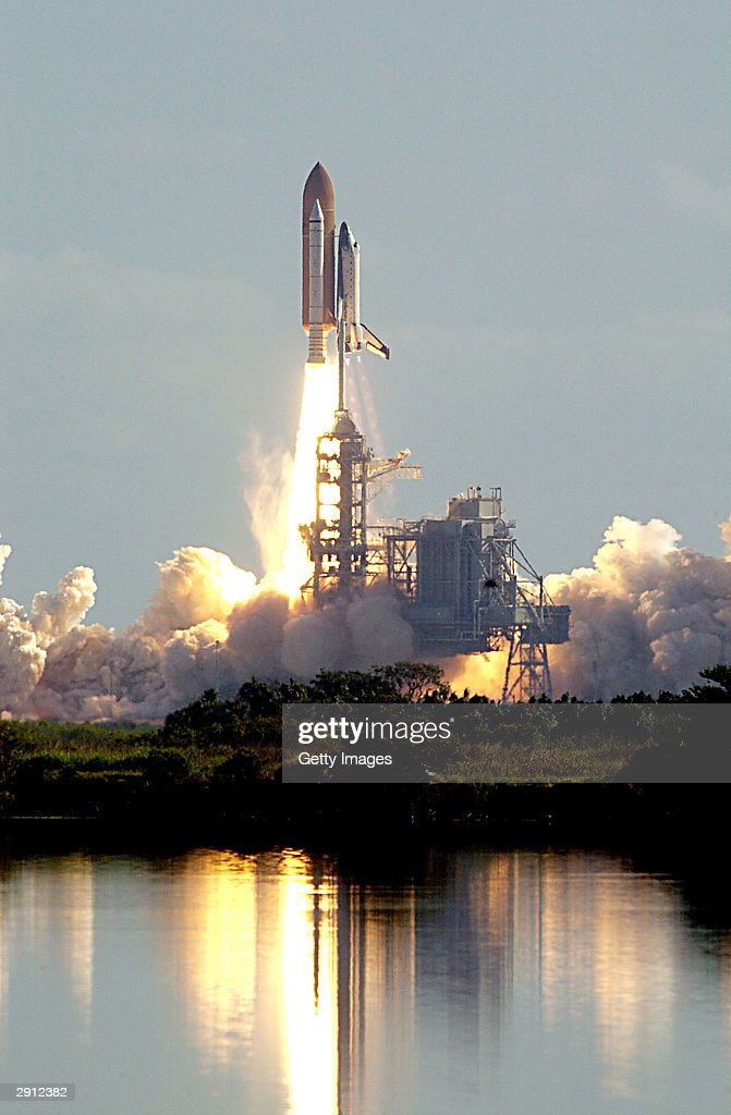 The Space Shuttle Columbia, on mission STS-107, launches January 16, 2003 at Kennedy Space Center at Cape Canaveral, Florida. The one-year anniversary of the space shuttle Columbia disaster during re-entry will be marked February 1, 2004.