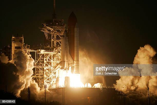 The space shuttle Discovery lifts off from launch pad 39A at the Kennedy Space Center March 15 2009 in Cape Canaveral Florida The shuttle is headed...