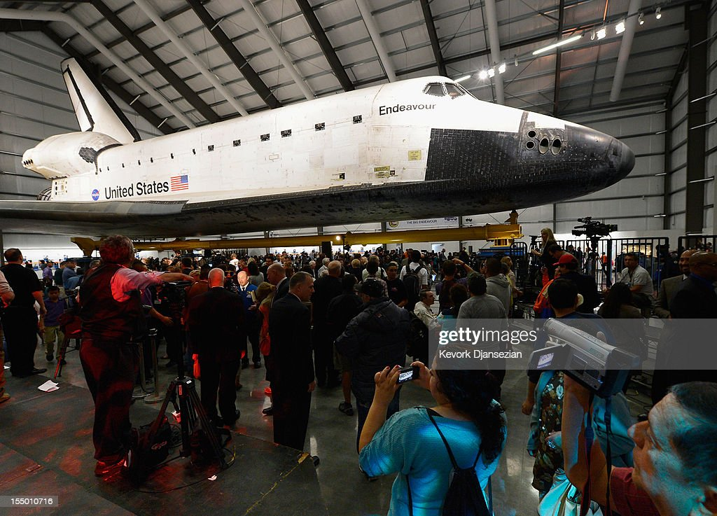 The space shuttle Endeavour exhibit opens to the public with a grand opening ceremony at the new Samuel Oschin Pavilion of the California Science Center on October 30, 2012 in Los Angeles, California. The Orbiter arrived in Los Angeles in late September atop a modified Boeing 747. Then earlier this month nearly 1 million spectators looked on as Endeavour was transported on city streets during a three-day 11-mile journey from Los Angeles International Airport to the Science Center.