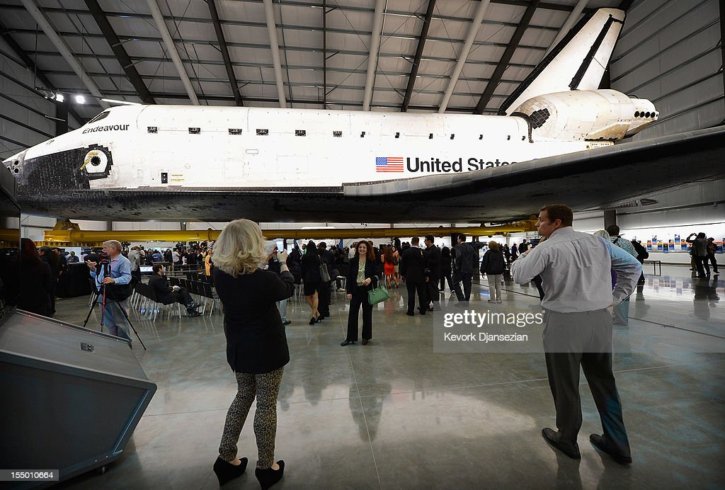The space shuttle Endeavour exhibit opens to the public with grand opening ceremony at the new Samuel Oschin Pavilion of the California Science Center on October 30, 2012 in Los Angeles, California. The Orbiter arrived in Los Angeles in late September atop a modified Boeing 747. Then earlier this month nearly 1 million spectators looked on as Endeavour was transported on city streets during a three-day 11-mile journey from Los Angeles International Airport to the Science Center.