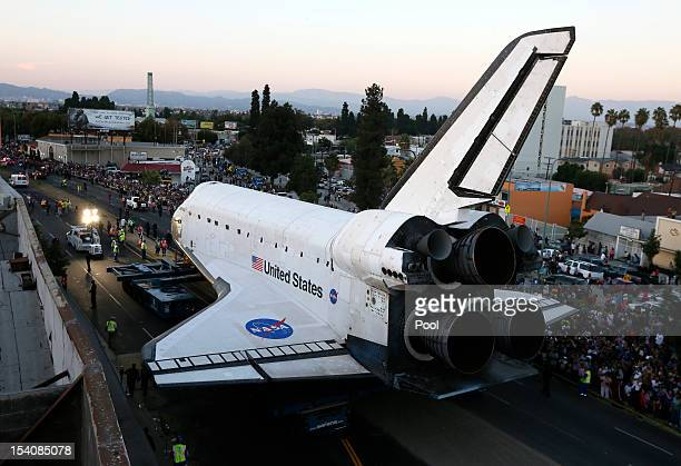 The Space Shuttle Endeavour is moved to the California Science Center on October 13 2012 in Inglewood California The space shuttle Endeavour is on...