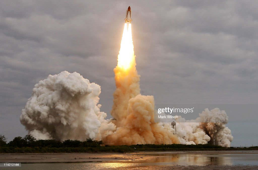 The space shuttle Endeavour lifts off from Launch Pad 39A at the Kennedy Space Center, on May 16, 2011 in Cape Canaveral, Florida. Endeavour is on its final flight to the International Space Station before being retired, and donated to the California Science Center in Los Angeles.