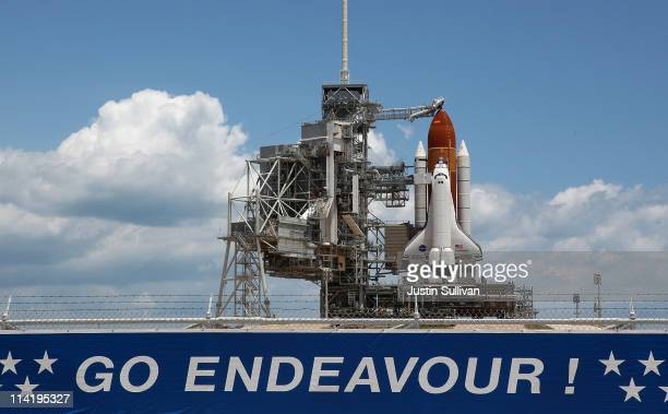 The space shuttle Endeavour sits on launch pad 39A at the Kennedy Space Center on May 15 2011 in Cape Canaveral Florida Endeavour is scheduled to...