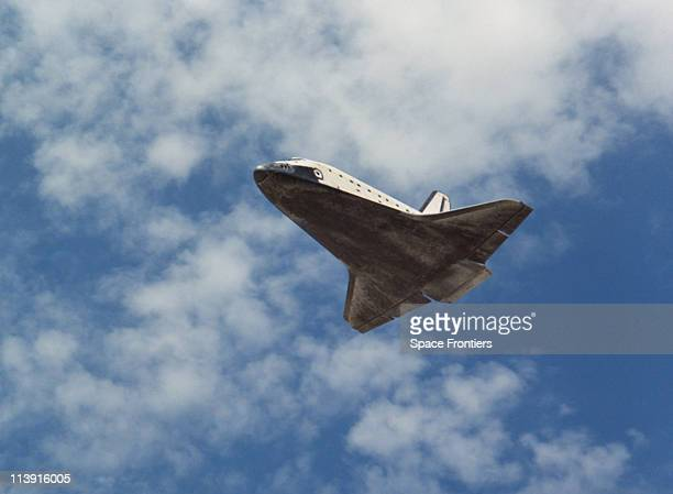 The Space Shuttle Enterprise in flight during one of the approach and landing tests for which it was built USA 1977