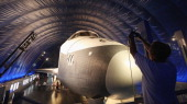 The Space Shuttle Enterprise is seen at a press preview of the Intrepid Sea Air Space Museum's new Space Shuttle Pavilion on July 18 2012 in New York...