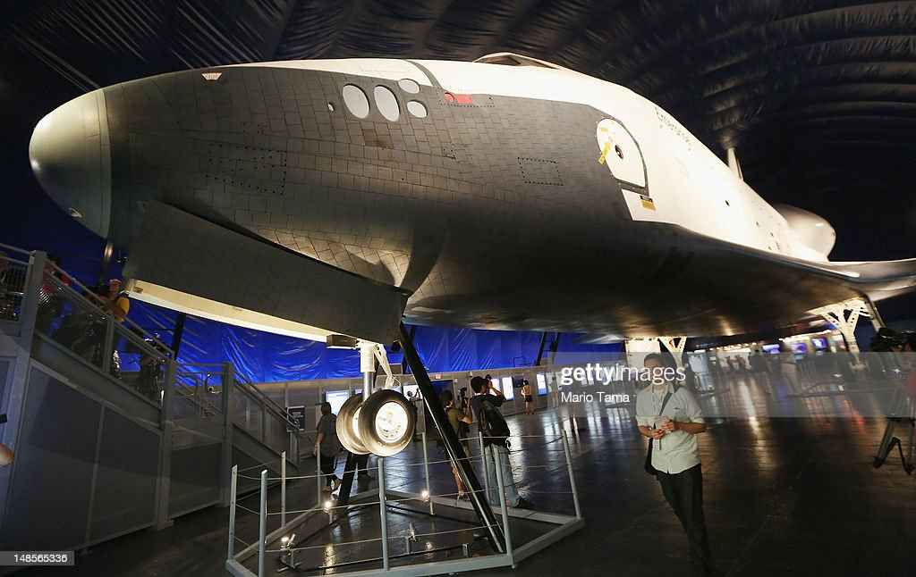 The Space Shuttle Enterprise is seen at a press preview of the Intrepid Sea, Air & Space Museum's new Space Shuttle Pavilion on July 18, 2012 in New York City. The Enterprise was NASA's first space shuttle and a prototype which performed tests in 1977 within the Earth's atmosphere. NASA awarded the Enterprise to the museum after the 2011 retirement of the shuttle program. The pavilion will open to the public July 19.