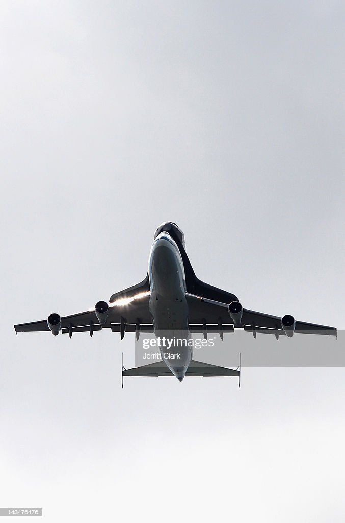 The Space Shuttle Enterprise seen flying over the Verrazano-Narrows Bridge as it arrives on April 27, 2012 in New York City.