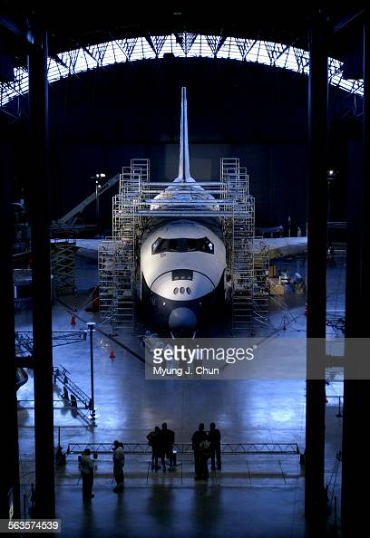 The Space Shuttle Enterprise undergoes restoration in the James S McDonnell Space Hangar at the Steven F Udvar–Hazy Center The center located on the...