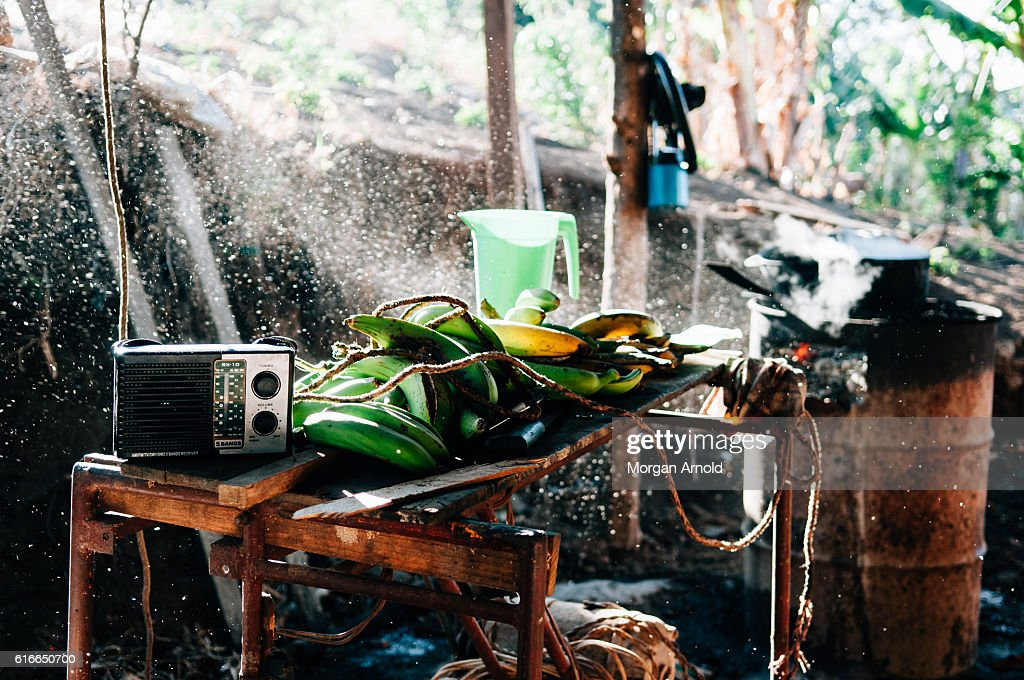 The space where a family that lives in a rural village in Nicaragua uses to prepare their meals : Stock Photo