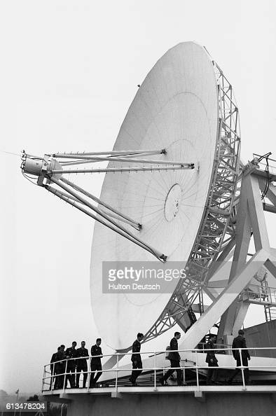 The spacecraft control centre antenna of the British Royal Air Force's Skynet communications satellite system The antenna is 65 feet in diameter