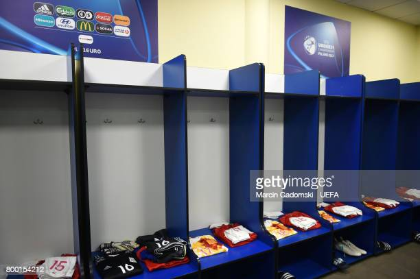 The Spain dressing room ahead of their UEFA European Under21 Championship match against Serbia on June 17 2017 in Bydgoszcz Poland