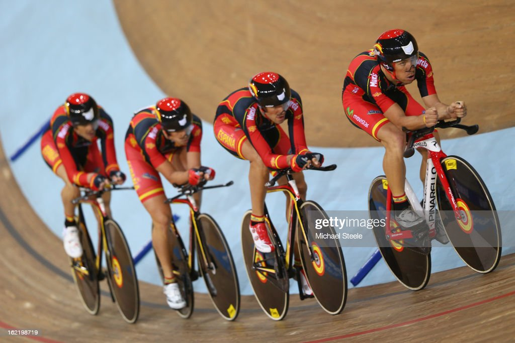 The Spain men's team pursuit of Unai Elorriaga,Eloy Teruel,<a gi-track='captionPersonalityLinkClicked' href=/galleries/search?phrase=Asier+Maeztu&family=editorial&specificpeople=2946174 ng-click='$event.stopPropagation()'>Asier Maeztu</a> and Sebastian Mora during heats on day one of the UCI Track World Championships at Minsk Arena on February 20, 2013 in Minsk, Belarus.