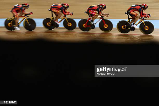 The Spain men's team pursuit of Unai ElorriagaEloy TeruelAsier Maeztu and Sebastian Mora during heats on day one of the UCI Track World Championships...