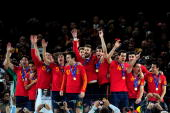 The Spain team celebrate winning the World Cup during the 2010 FIFA World Cup South Africa Final match between Netherlands and Spain at Soccer City...