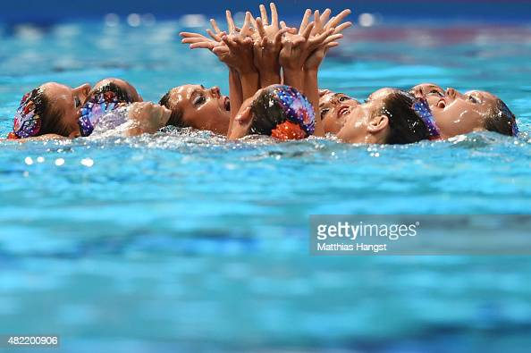 The Spain team compete in the Women's Team Free Synchronised Swimming Preliminary on day four of the 16th FINA World Championships at the Kazan Arena...