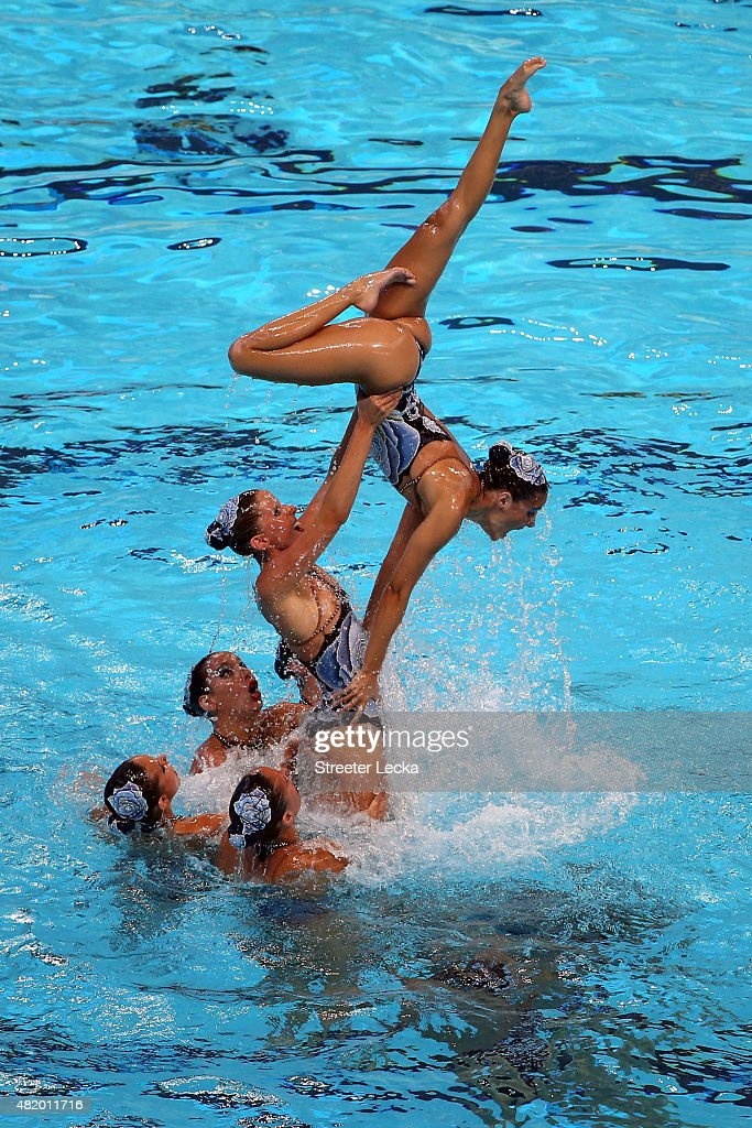 The Spain team competes in the Women's Free Combination Preliminary Synchronised Swimming on day two of the 16th FINA World Championships at the...