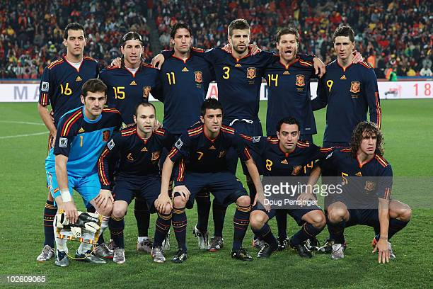 The Spain team line up ahead of the 2010 FIFA World Cup South Africa Quarter Final match between Paraguay and Spain at Ellis Park Stadium on July 3...