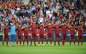 The Spain team line up before the UEFA EURO 2016 Qualifier group C match between Spain and Luxembourg at Estadio Municipal Las Gaunas on October 9...