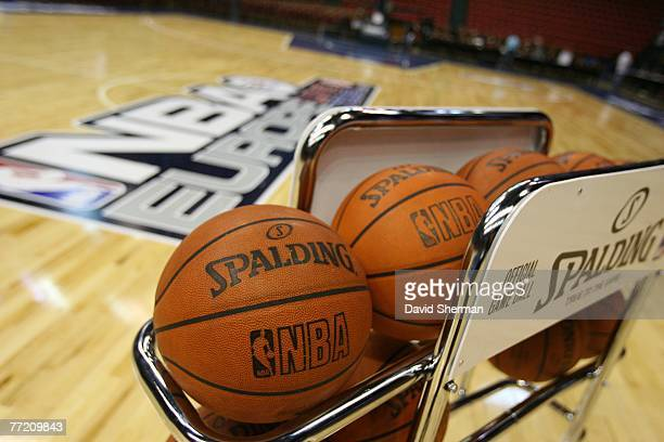 The Spalding ball rack at center court prior to the NBA Europe Live 2007 game between the MInnesota Timberwolves and Efes Pilsen at Istanbul Abdi...
