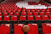 The Spalding ball sits on the seats before the Memphis Grizzlies face off against the Portland Trail Blazers during Game Three of the Western...