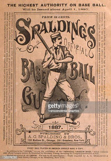 The Spalding Sporting Goods company uses a batter in profile in part of their cover designs in this broadside printed to advertise the baseball guide...