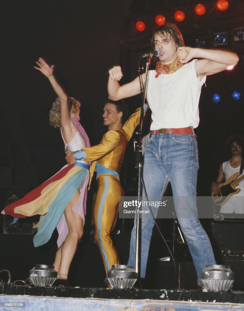 The Spanish actor and singer Miguel Bose during a concert Madrid Spain