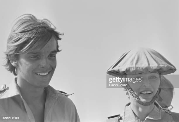 The Spanish actor and singer Miguel Bose with his mother Lucia Bose during a break from filming the movie 'Los Heroes' Almeria Spain