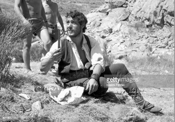 The Spanish actor Manolo Zarzo in the filming of the movie 'Llanto por un bandido' Madrid Spain