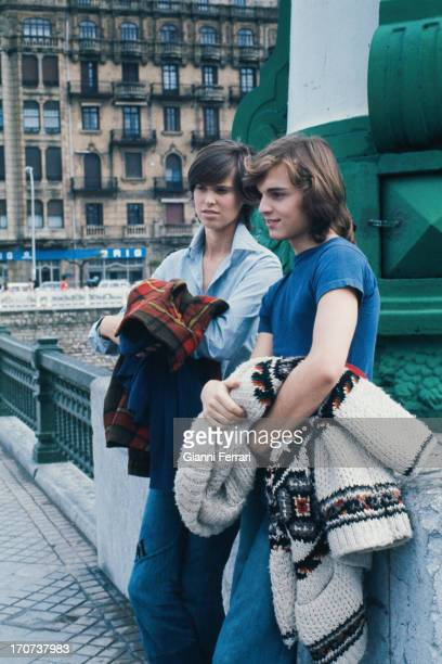 The Spanish actor Miguel Bose and his sister Paola before the filming of the movie 'Vera' Madrid Castilla La Mancha Spain