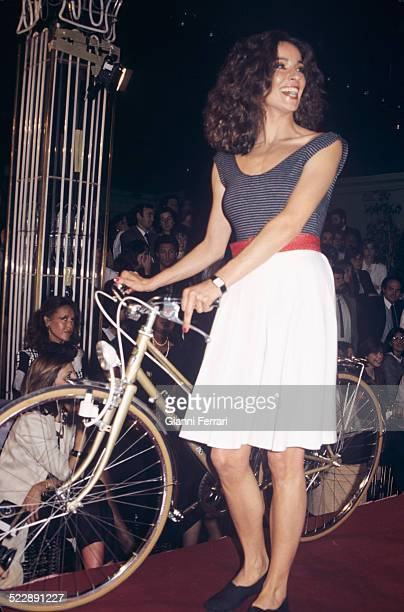 The Spanish actress Amparo Munoz Miss Spain and Miss Universe 1973 during a bike ride Madrid Spain