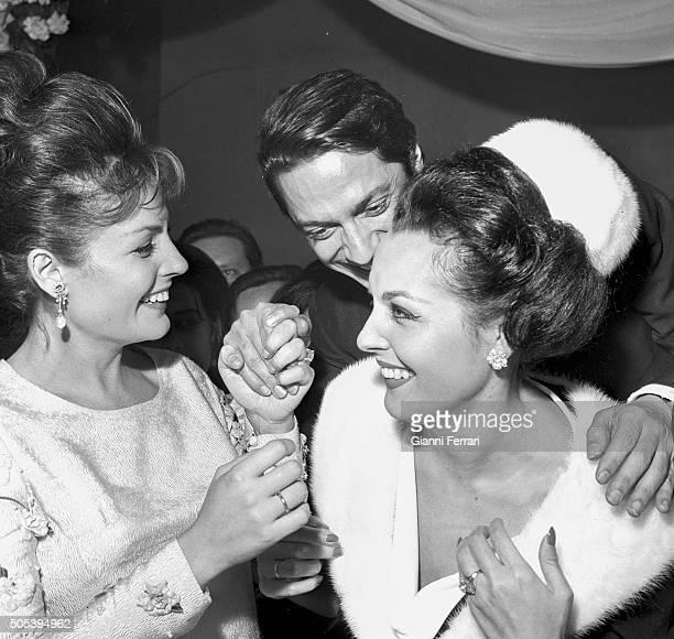 The Spanish actress Carmen Sevilla the Spanish dancer Antonio and the Spanish actress Paquita Rico at the christening of Lolita the daughter of Lola...