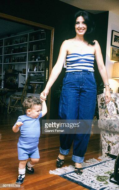 The Spanish actress Concha Velasco with her son 27th June 1980 Madrid Spain