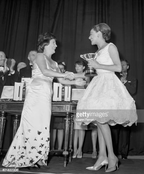 The Spanish actress Imperio Argentina and the Mexican actress Columba Martinez in the Festival of San Sebastian's cinema 1962 Guipuzcoa Spain