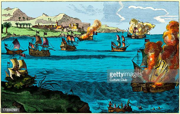 The Spanish Armada destroyed by Captaine Morgan engraving The Welsh privateer Sir Henry Morgan attacking the Spanish Armada off the coast of...