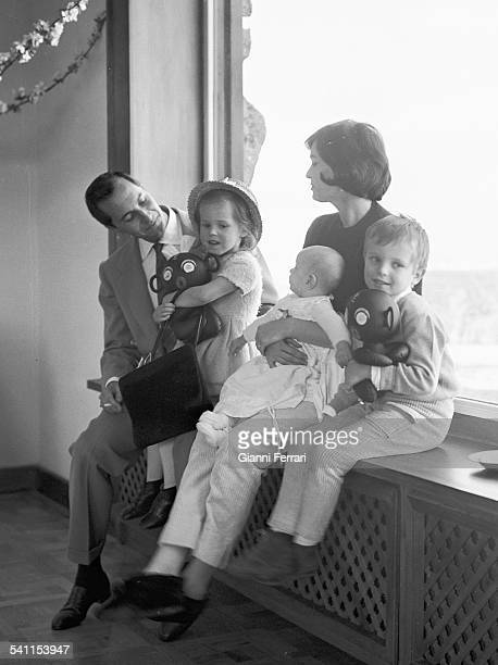The Spanish bullfighter Luis Miguel Dominquin with his family Lucia his wife Italian actress Lucia Bose Paola and Miguel at his home in Somosaguas...
