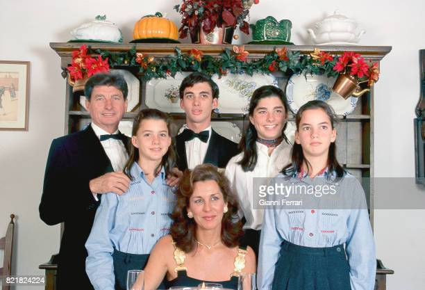 The Spanish bullfighter Rafael Peralta with his wife and children in his house Sevilla Andalusia Spain