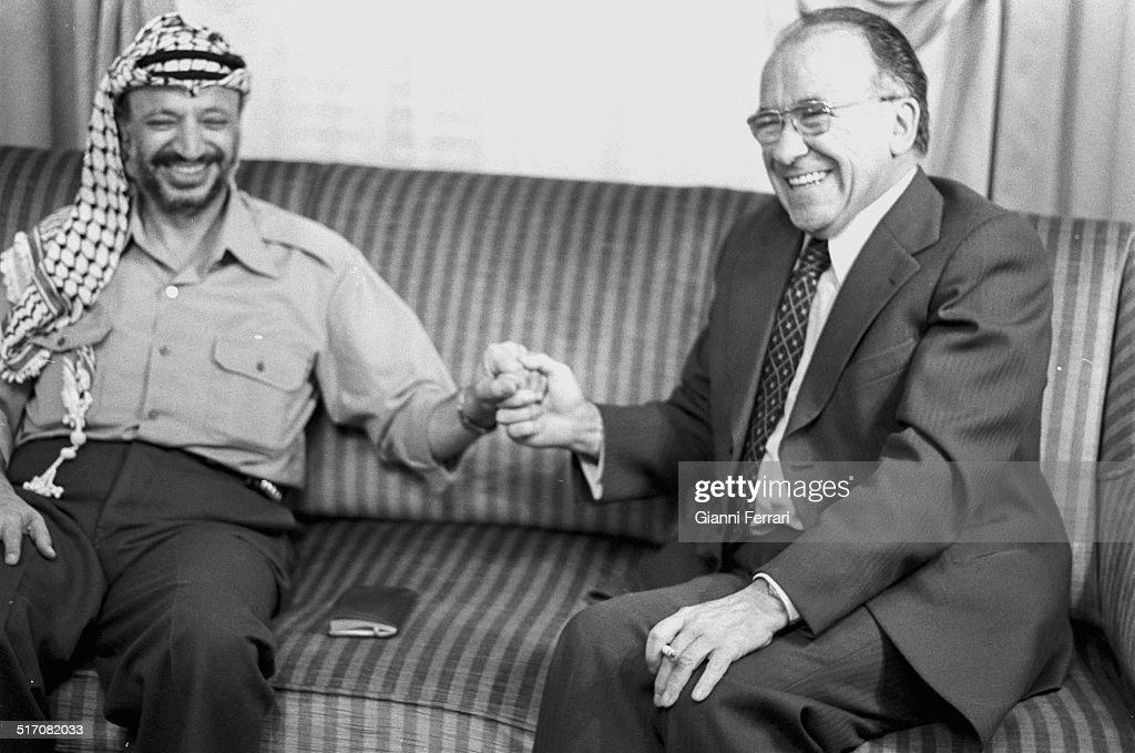 The Spanish communist political Santiago Carrillo and the leader Palestinian Yasser Arafat Madrid Spain