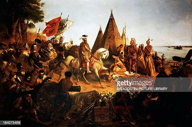 The Spanish conquistador Hernando de Soto discovering the Mississippi River in 1541 painting by William Henry Powell 1847 North America 16th century...